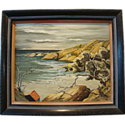 SALE Beautiful Original California Coastal Painting ~ Oil on Board ~ by Wanda Rhoades 1953