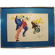 Fantastic Original Framed Vintage  Ink & Watercolor on Paper ~ Three Jazz Musicians ~ Sign