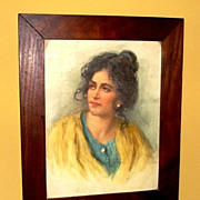 "SALE Amazing Water Color of a Beautiful Woman with Yellow Shawl ""Peasant Girl"" by Vittorio"