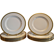 """SOLD 10 Available  Pickard 10 3/4"""" Dinner Plate  ~ Hand Painted with Encrusted 24K Gold Diam"""