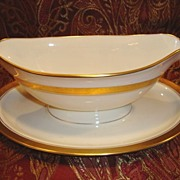 SALE Exquisite Pickard Gravy Boat attached Under Plate ~ Hand Painted with Encrusted Diamond .