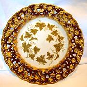 SALE Unique German Porcelain Plate ~ Reticulated Rim ~ Purple and Gold ~ Grapes ~ C. TIELSCH &