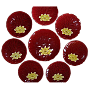 """SALE 8- Colorful German Majolica Red """"Water Lily"""" 7 Cabinet Plates / 1 Master Plate"""