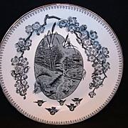 "SALE Nice 9 5/8"" English Black Transferware Cabinet Plate ~ Countryside with Birds ~ ..."