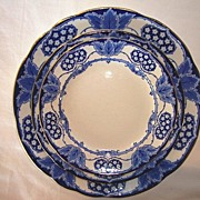 SALE Beautiful English Earthenware Trio of Plates ~ York Pattern ~ Cobalt Blue Hearts, Flowers