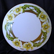 """SALE FANTASTIC Bavaria Hand Painted Porcelain Plate – Yellow Flowers,Gold Trim Signed """""""