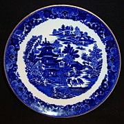 SOLD Beautiful English Blue & White Saucer ~ Chinoiserie Motif ~ Two Temples 1 pattern ~ WT Co