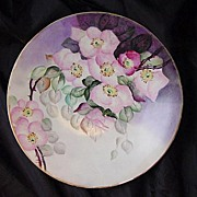 SALE Beautiful Limoges Porcelain Cabinet Plate Hand Pained with Pink/White Tea Roses~ Jean Pou