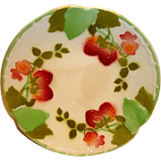 "Wonderful French Majolica 8 ½"" Plate with Red Ripe Strawberries ~ Boulenger Choisy-le-Ro"