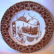 SALE Beautiful English Earthenware Plate with Brown Transfer ~ Cairo Series Eastern Landscape