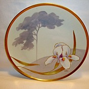 SALE Beautiful Limoges Plate Hand Painted with Iris ~ Signed J. Barin ~ Latrille Freres  & Cor
