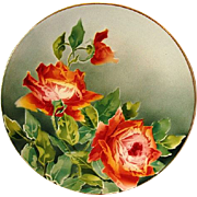 "SALE Illuminating 12 3/8"" French Faience / Majolica Charger with Red Roses ~ KELLER & GUERIN"