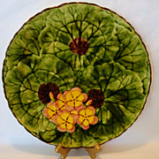 "SALE Incredible 11 5/8"" Majolica Plate / Charger / Tray ~ Hand Painted Yellow and Pink Geran"