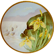 SALE Beautiful Limoges Plate Hand Painted with Yellow Japanese Iris ~ Signed J. Barin ~ George