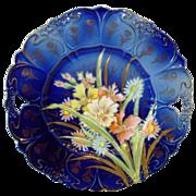 "SALE Unbelievable German Porcelain 11"" Cake Plate ~ Cobalt Blue with Pastel Mixed Flowers ~"
