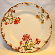 SALE Gorgeous Limoges Porcelain Plate ~ Hand Painted Magenta, Orange and Yellow Flowers ~ ...