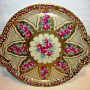 "SALE Fantastic 12 ¼"" W Porcelain Cake Plate / Tray ~ Red Roses Gold Moriage Beading ~ attri"