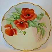 SALE Exquisite Pickard Studio Hand Painted Porcelain Cabinet Plate ~ Bold Orange Poppies ~ Wig