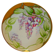 """SALE Amazing Limoges France Cabinet Plate ~ Hand Painted with Purple & Pink Wisteria ~ """"Wist"""