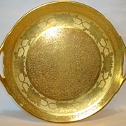 """SALE Beautiful 10 ¾"""" W Cake Plate ~ All over Gold ( AOG )~ Daisy Design ~ Stouffer Studios"""