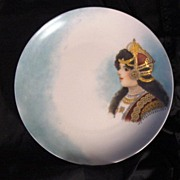 SALE A Hand Painted Portrait Plate or Wall Plaque. This could be Queen Louise of Prussia. Rose