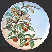 "SALE Awesome French Faience 13 ¾"" W Charger / Plate ~ Hand Painted with Cherries and ..."