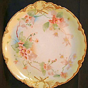 "SALE Gorgeous 13"" Limoges Porcelain Charger / Platter ~ Hand Painted with Wild Pink Roses ~"