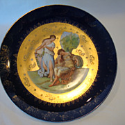 "SALE Nice 10"" Porcelain Cabinet Plate ~ Angelica Kaufmann ~ Transfer on Cobalt and Gold  ~ V"