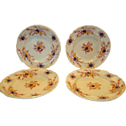 SALE 4 Amazing Earthenware Plates Over 150 years old with Transfers of colorful flowers ~   Pa