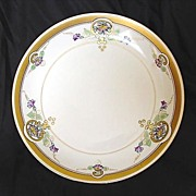 "SALE Pickard Studio Hand Painted Art Nouveau  Purple Morning Glory Design Plate 8 1/2"" â€"