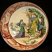 "SALE Great Sarreguemines France Faience ""(Jeanne) Joan Of Arc At Chesnu Forest"" Plate / .."