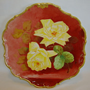 SALE Wonderful Limoges Porcelain Plate ~ Hand Painted with Yellow Roses by MAX ~ Flambeau ...