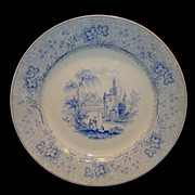 SALE Wonderful English Plate  ~ Blue Transferware ~ Non-Pareil Pattern ~ T&J MAYER ...
