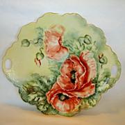 "SALE Beautiful 12"" Porcelain Cake Plate ~ Hand Painted with Orange Poppy Flowers ~ Signed Hu"