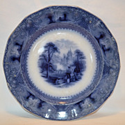 """SOLD Gorgeous 12 Sided Deep Flow Blue / Black 9 3/4"""" Ironstone  Plate ~ Lozere Pattern ~"""