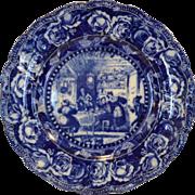 "SALE Wonderful Cobalt Blue and White 10"" Plate ~ ""Sam Weller Astonishes Job Trotter"" ..."