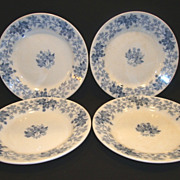 "SALE 4 ~Nice French Blue Faience 8"" Salad Plates ~ Blue Leave & Vines ~ Houblon pattern ~ UT"