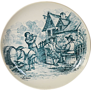 "SALE Wonderful 11"" French Tavern Scene Plate / Wall Plaque by Louis Mimard ~ Men at ..."