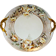 SALE Beautiful Limoges Porcelain Cake Plate ~ Open Handled ~ Hand painted with Yellow Roses ..