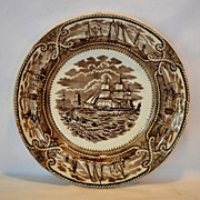 "SALE Wonderful 9"" Earthenware Plate ~ American Marine Pattern ~ George L Ashworth Brothers 1"