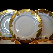 """SALE Set of 5 Awesome 10 ½"""" Dinner Plates ~ Haviland Limoges ~ Gold Encrusted ..."""