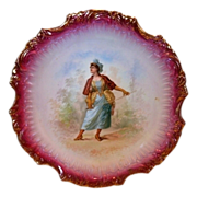 "SALE Awesome 14"" French Porcelain Charger / Plaque ~ Woman with a Fencing Sword ~ Narbbone F"