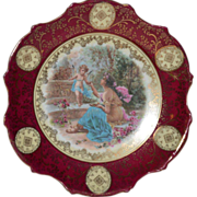 "SALE Gorgeous 10"" Porcelain Plaque / Plate with Cherubs and Goddess ~ Victoria Porcelain Sch"