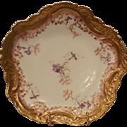 SALE Exquisite Limoges Porcelain Cabinet Plate ~ Purple Flowers ~ Ornate Rim ~ Vignaud Frères