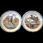 SALE 2 Great Horse Plates ~ Cavalier Series #3 #11 ~  Hautin & Boulengar ~ H B & Cie ~ Choisy