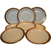 """SALE Set of 8 – 6 1/8"""" Bread & Butter / Horderves Plates ~ Gold Encrusted Edge,Gold Rings,"""