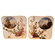 SALE 2 Awesome Limoges Porcelain Square Plates ~ Hand Painted with Sea Scenes ~  Charles ...