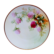 "SALE Beautiful 6 5/8"" Bavaria Plate ~ Hand Painted with Pink / Red Clovers ~ ..."