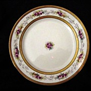 SALE Elegant Limoges Porcelain Cabinet Plate ~ Double Gold Bands ~ Pink & Yellow Roses – B &