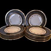 "SALE Set of 12 Gorgeous Porcelain Dinner Plates 10.8""~ Black & Gold – H & CO ..."